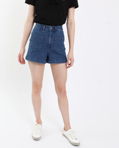 Short in jeans high waist blu scuro