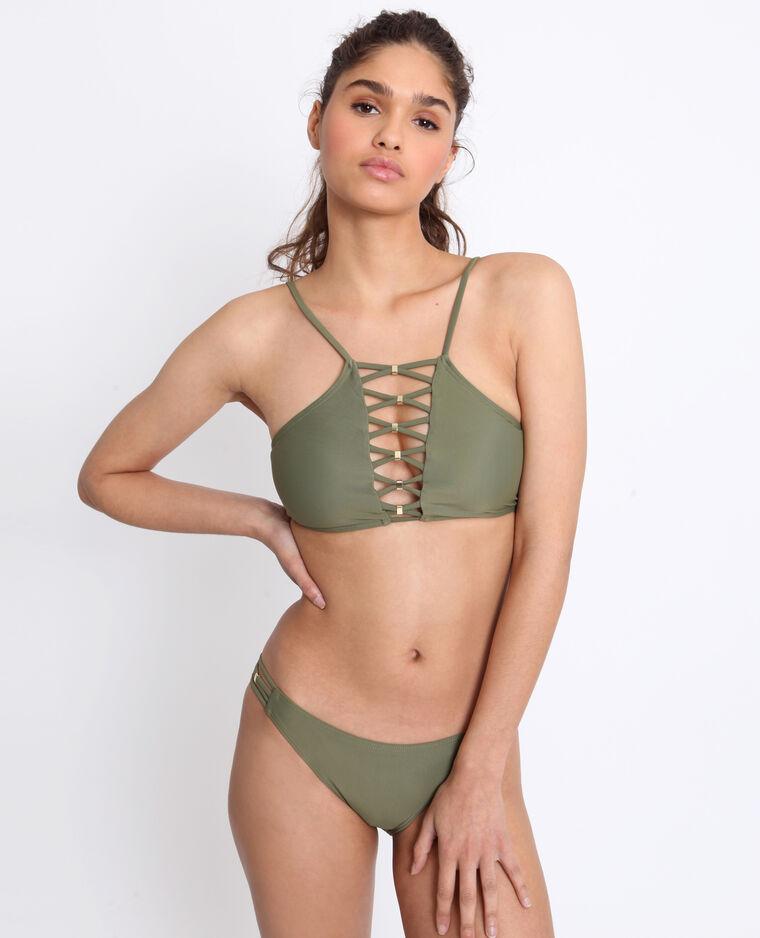 Pezzo sotto di bikini con lacci verde