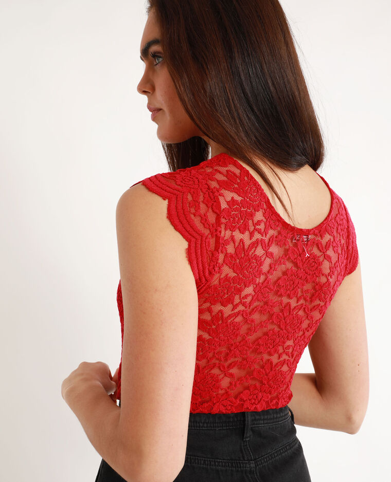 Top in pizzo rosso