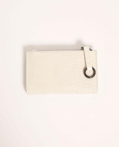 Mini portafoglio effetto coccodrillo bianco - Pimkie