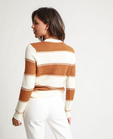 Pull a righe marrone