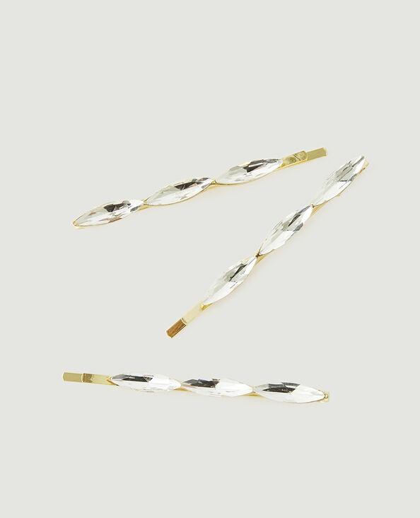 Lotto di 3 forcine con strass dorato - Pimkie