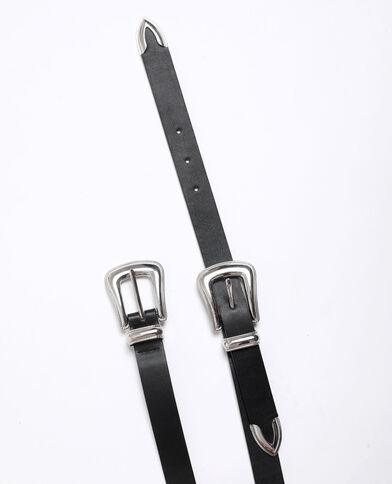 Cintura western con doppia fibbia nero