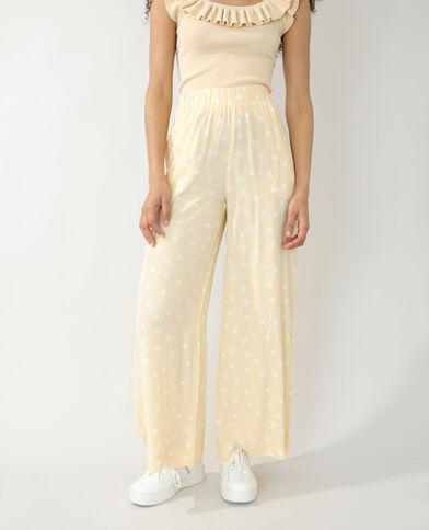 Pantalone wide leg a pois giallo - Pimkie