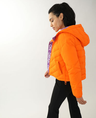 Piumino bicolore arancio
