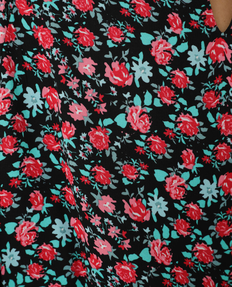 Abito a trapezio a fiori nero + rojo - Pimkie