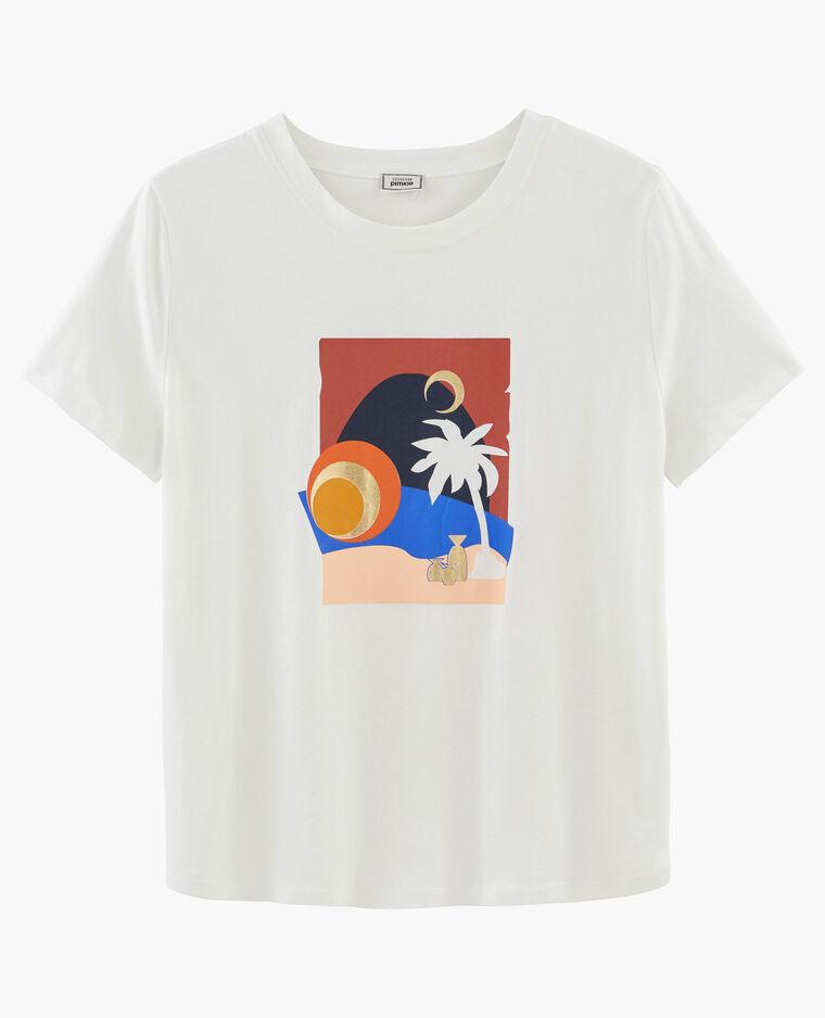 T-shirt stampata bianco sporco