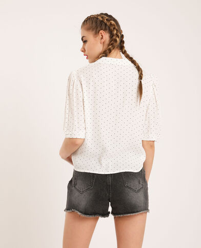 Camicia corta a pois bianco sporco