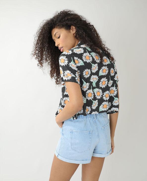 Camicia ampia a pois e a fiori nero - Pimkie