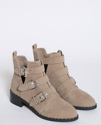 Boots con fibbie écru