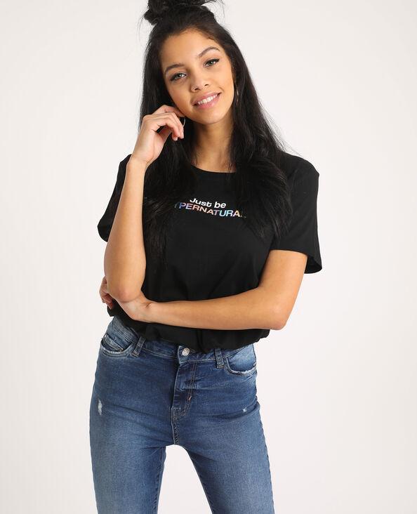 T-shirt con scritta nero