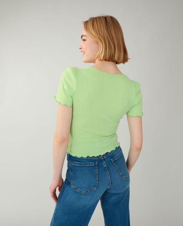 T-shirt a coste verde - Pimkie