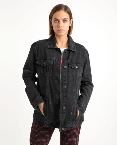 Giacca in jeans larga nero