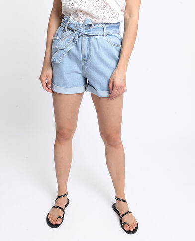 Short a vita alta blu denim