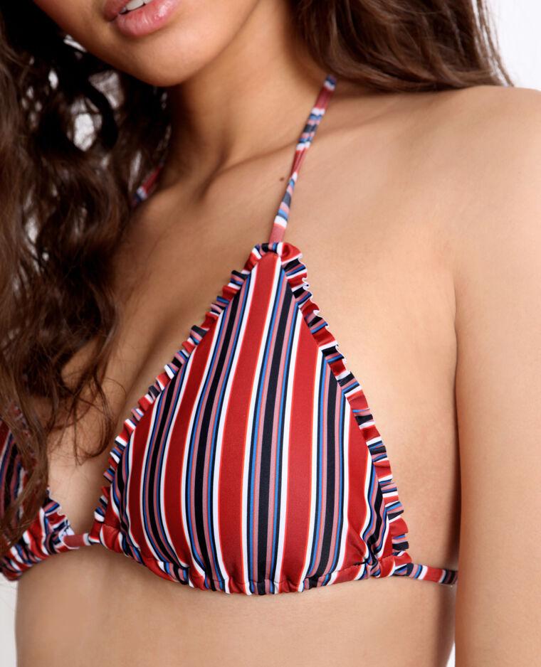 Pezzo sopra di bikini a righe rosso