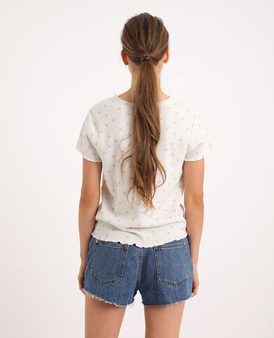 T-shirt con stampa limoni bianco sporco