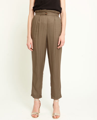 Pantalone morbido con pinces verde