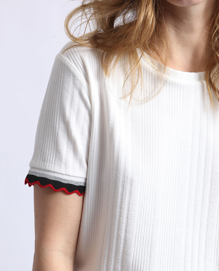 T-shirt in maglia a coste bianco sporco