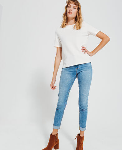 T-shirt con texture bianco sporco