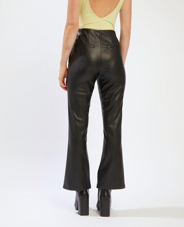 Pantalone flare in similpelle nero - Pimkie