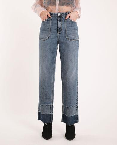 Jeans dritto a contrasto blu denim