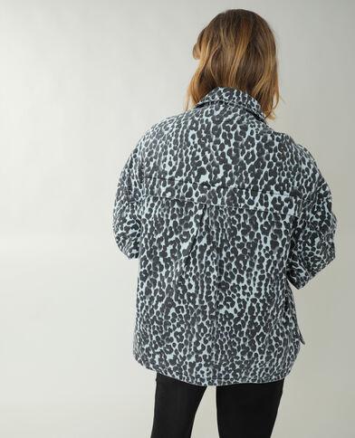 Giacca camicia di jeans leopardata blu