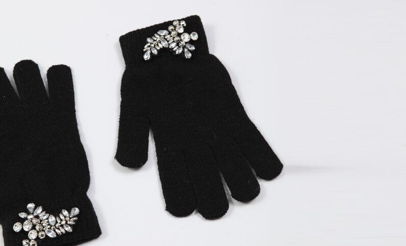 Guanti con gioielli nero