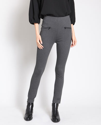 Treggings a vita alta grigio chiné