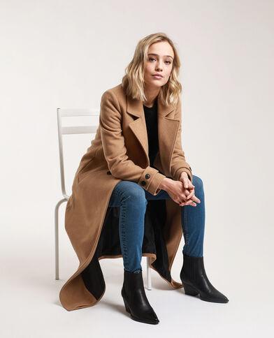 Cappotto lungo con lana caramello