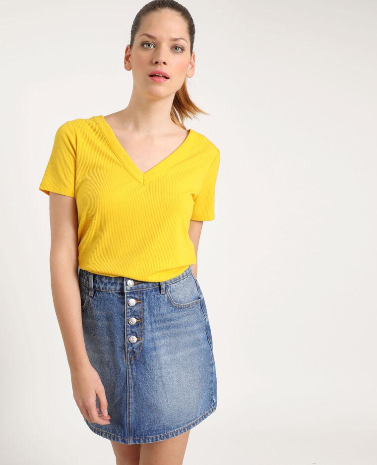 T-shirt abbottonata giallo