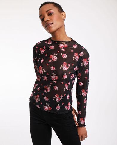 Top corto a fiori nero + rojo