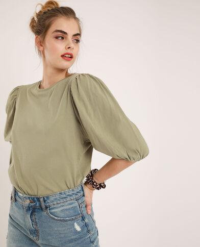 T-shirt con maniche a palloncino kaki