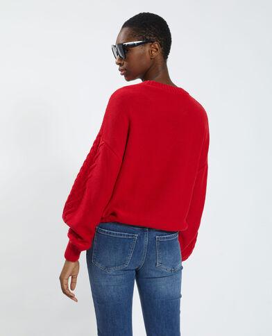 Pull in maglia fantasia regolabile rosso - Pimkie