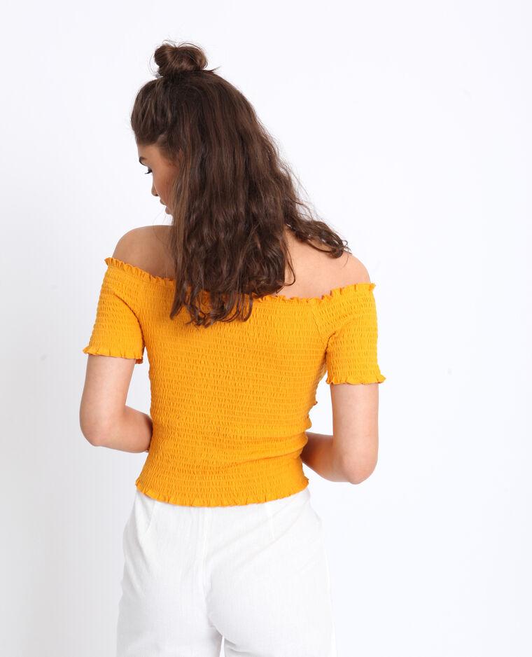 Crop top con scollo bardot giallo