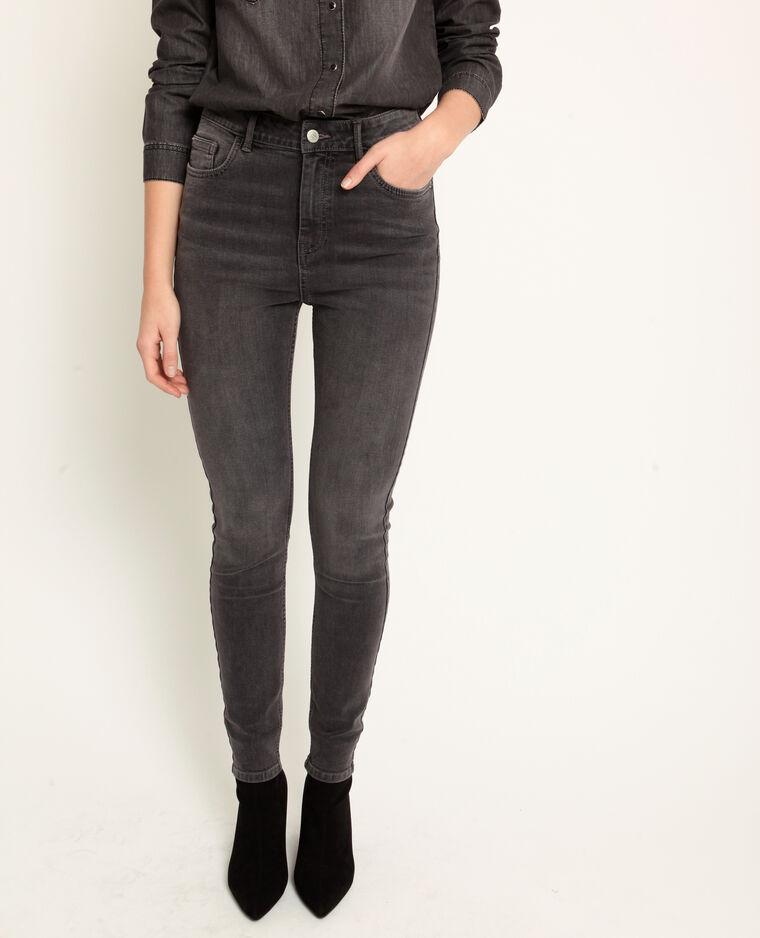 Jeans skinny a vita alta grigio antracite