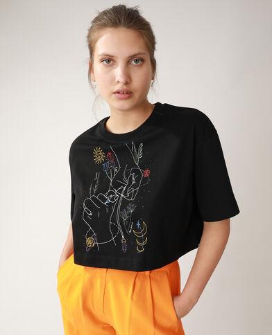 T-shirt cropped con motivi di mani e fiori nero - Pimkie