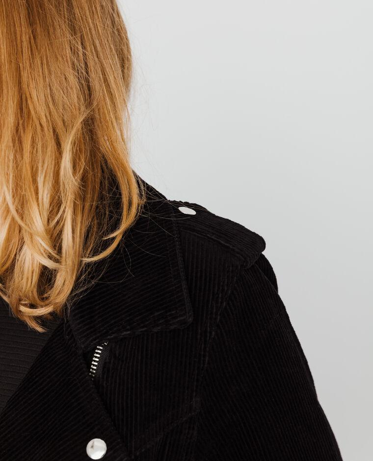 Giacca da motociclista in velluto nero
