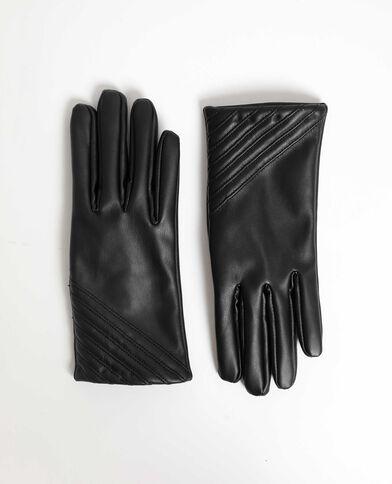 Guanti in finta pelle nero