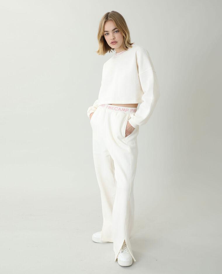 Pantalone da jogging in tessuto felpato bianco sporco