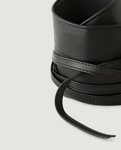 Cintura larga da annodare in similpelle nero - Pimkie