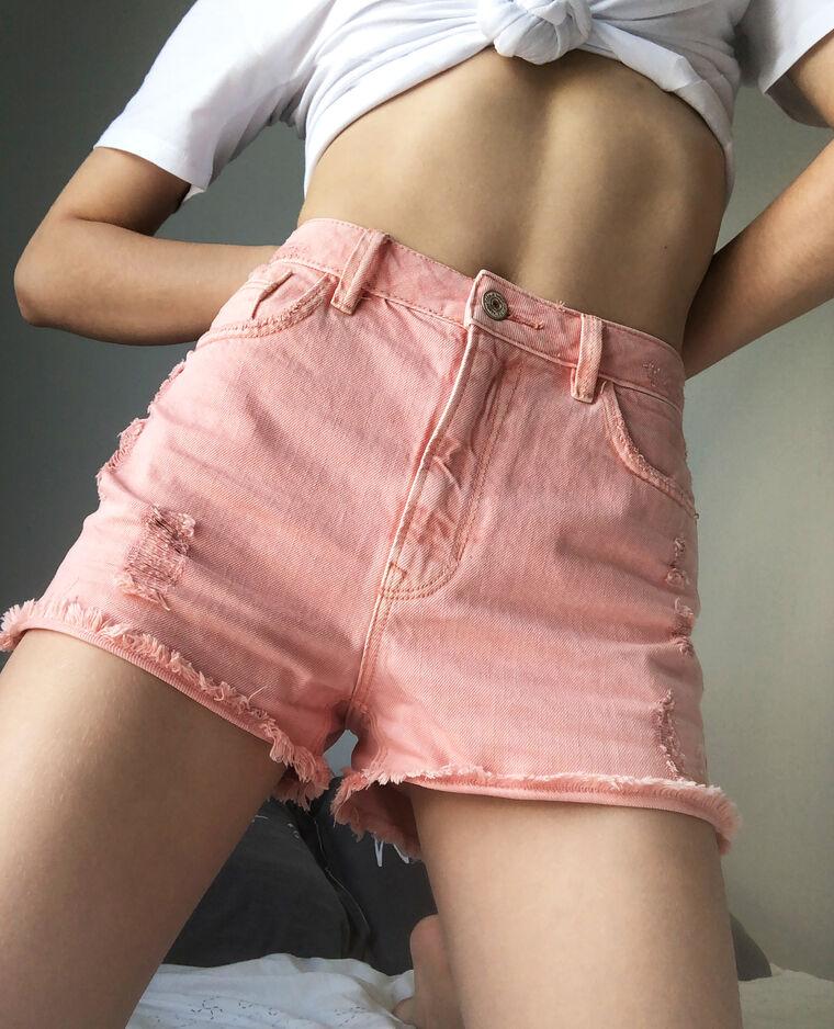 Short di jeans high waist rosa cipria