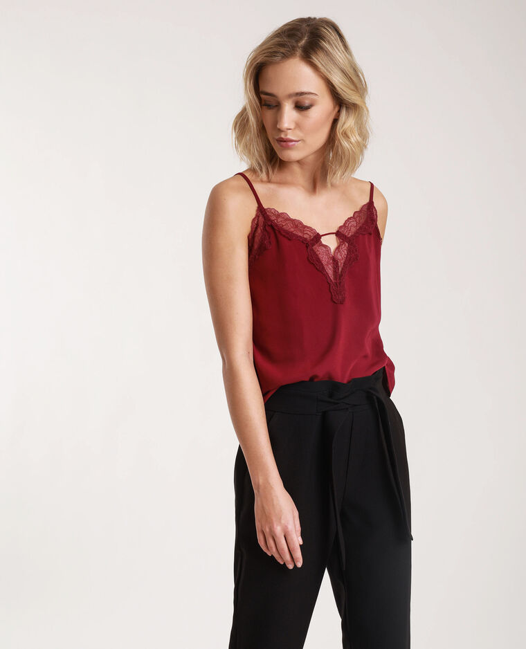 Top in pizzo prugna