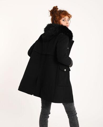 Cappotto dritto con cappuccio in pelliccia nero