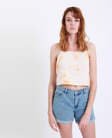 Top corto délavé arancio