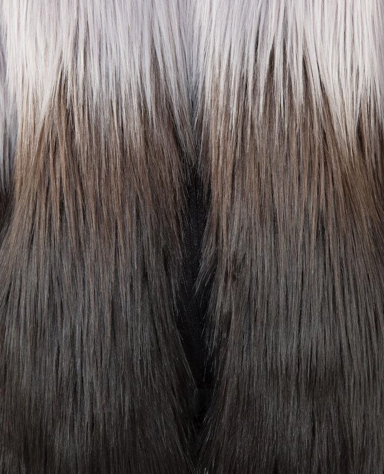 Cappotto tie and dye in pelliccia ecologica nero