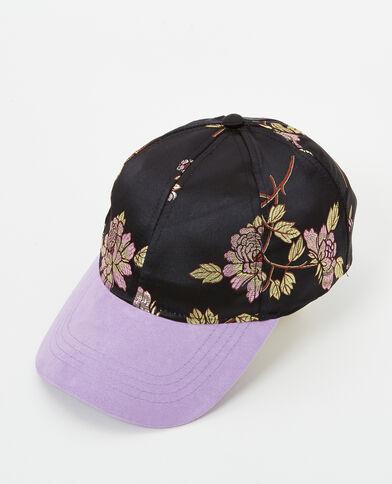 Cappellino stampato a fiori parme