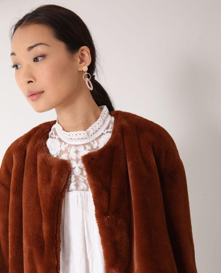 Cappotto corto in pelliccia ecologica beige cipria