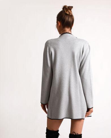 Cardigan caldo grigio chiné