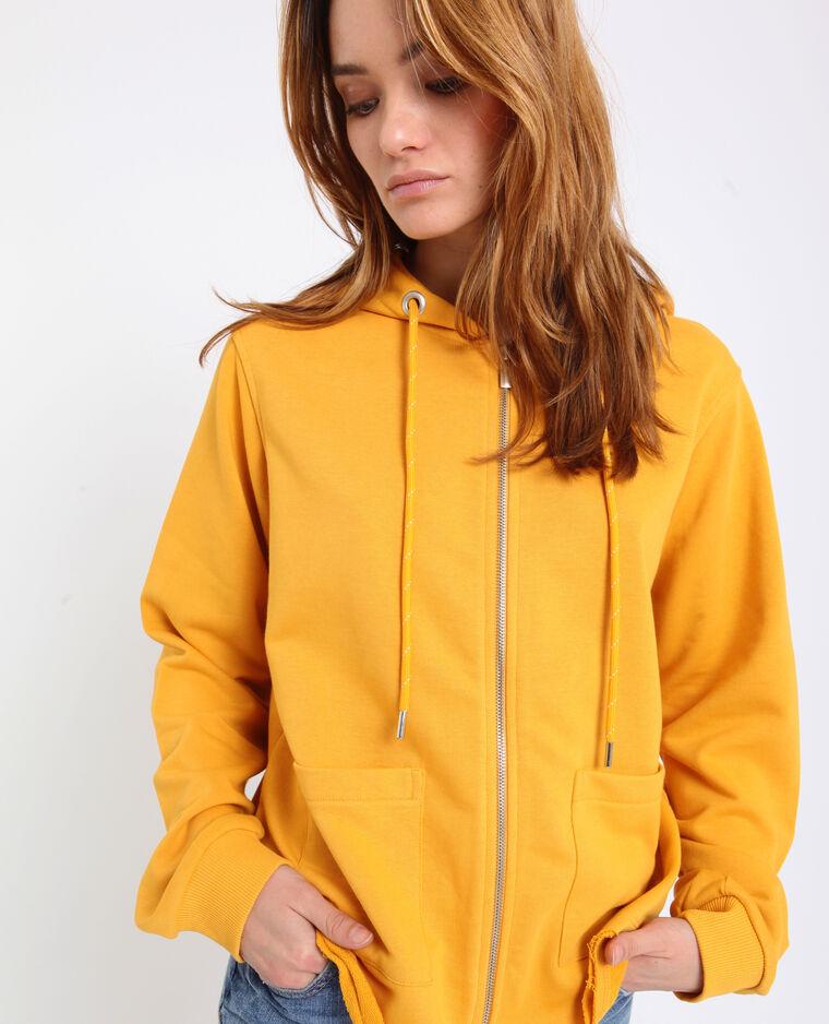 Cardigan con cappuccio giallo