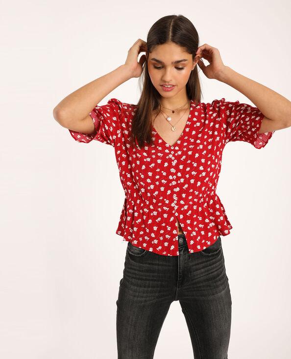 Camicia a fiori rosso